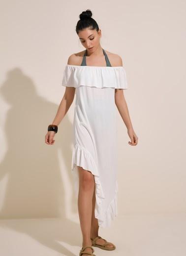 Morhipo Beach Straplez Asimetrik Elbise Beyaz
